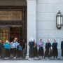 Members of an Amish community from Lancaster County in Pennsylvania wait outside the Philadelphia Temple of The Church of Jesus Christ of Latter-day Saints for a tour Thursday, August 4, 2016 in Philadelphia, Pa. (Photo by Alan Murray)